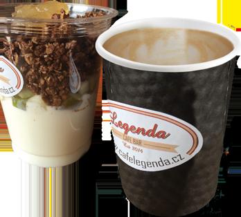 Café Legenda Kladno snidaně kelímek s müsli